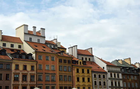 Old town in Warsaw, Colorful houses.