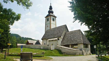 view of the Church of St. John the Baptist, Bohinj, Slovenia