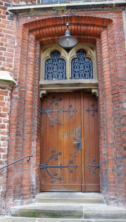 Beautiful wooden door in the street of old town, Bremen Stockfoto