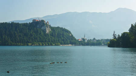 Lake Bled, Julian Alps and Bled castle, Bled, Slovenia