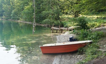 View of the boats near lake, Bohinj