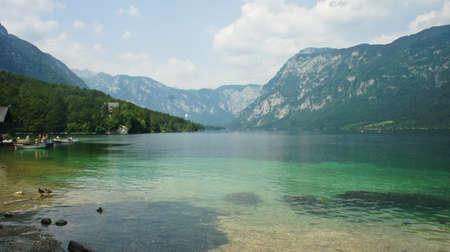 view of the lake Bohinj and Julian Alps mounntains, Slovenia