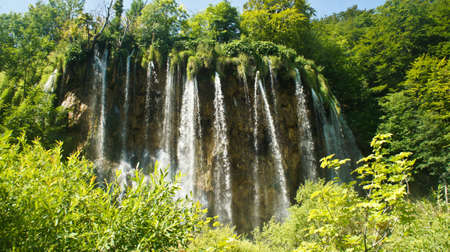 View of waterfall and rock, beautiful nature landscape, Plitvice Lakes in Croatia, National Park