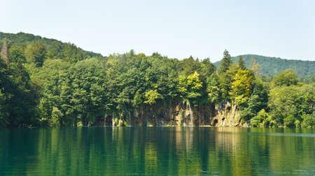 Waterfalls and rock, beautiful nature landscape, Plitvice Lakes in Croatia, National Park Reklamní fotografie