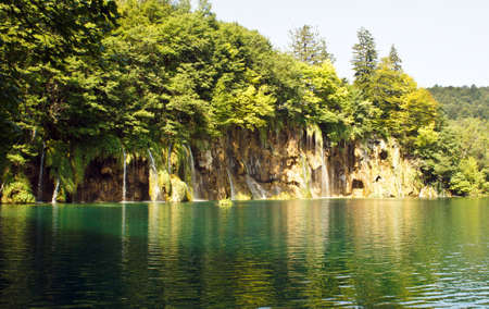 Waterfalls and mountain, beautiful nature landscape, Plitvice Lakes in Croatia, National Park Reklamní fotografie