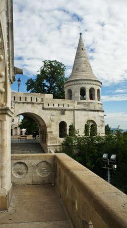 Balcony in Fisherman's Bastion, Castle hill in Buda Stockfoto