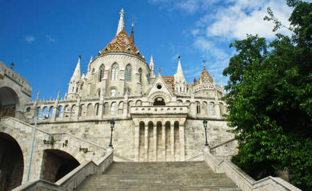 Scenic view of stairs of Fisherman's Bastion and Matthias church in the morning, Castle hill in Buda Stockfoto - 151096978