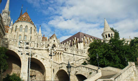 View of stairs of Fisherman's Bastion and Matthias church in the morning, Castle hill in Buda Stockfoto - 151096979