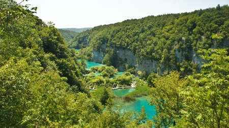 Top scenic view of Plitvice Lakes, National Park in Croatia