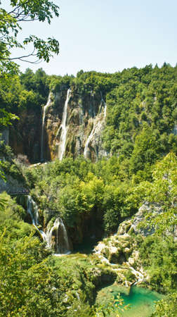 Scenic view of the large waterfall, Plitvice Lakes in Croatia, National Park Reklamní fotografie