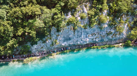 Top scenic view of Plitvice Lakes, beautiful nature of National Park in Croatia