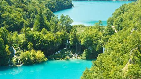 Aerial panoramic view of Plitvice Lakes, National Park in Croatia