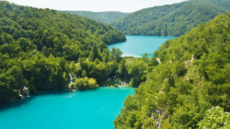 Aerial scenic view of Plitvice Lakes, National Park in Croatia