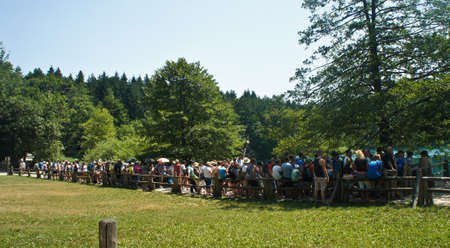 Big line to the ferry, Plitvice Lakes in Croatia, National Park