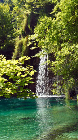 View of waterfall and beautiful nature landscape, Plitvice Lakes in Croatia, National Park
