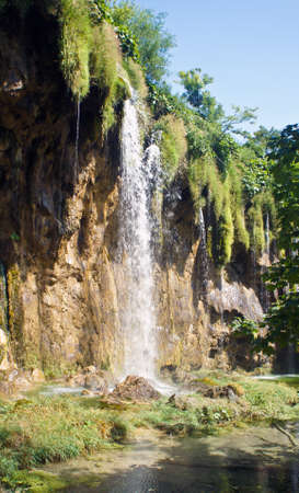 Waterfall and beautiful nature landscape, Plitvice Lakes in Croatia, National Park