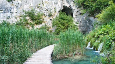 View of wooden pathway over the water, Plitvice Lakes in Croatia