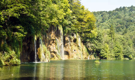 Waterfalls and forest, beautiful nature landscape, Plitvice Lakes in Croatia, National Park Reklamní fotografie