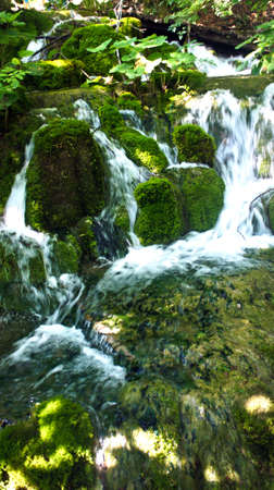 Cascade waterfall and moss, beautiful nature landscape, Plitvice Lakes in Croatia, National Park