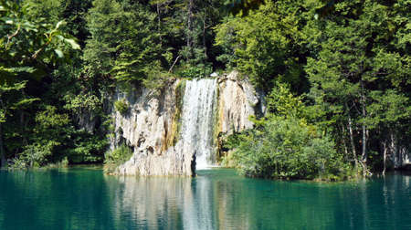 Waterfall and mountain, beautiful nature landscape, Plitvice Lakes in Croatia, National Park Reklamní fotografie