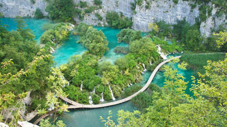 Top view of waterfalls and wooden ways in National Park Plitvice Lakes Reklamní fotografie