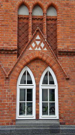 Detail of brick building, decoration windows, Lubeck Stockfoto