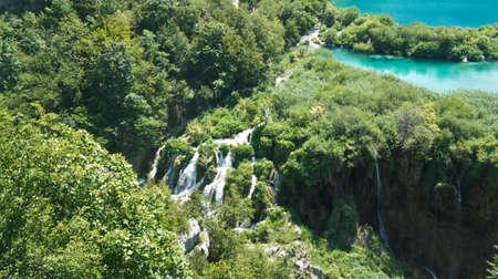 Top panoramic view of Plitvice Lakes, National Park in Croatia