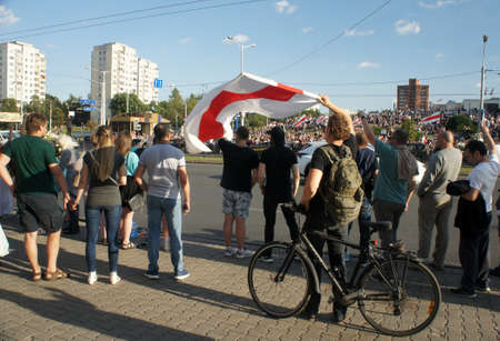 Minsk, Belarus - August 15,2020. Peaceful protest actions against the current government after the presidential election in Belarus.