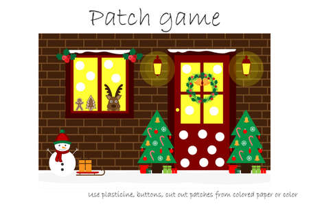 Education Patch game christmas for children to develop motor skills, use plasticine patches, buttons, colored paper or color the page, kids preschool activity, printable worksheet, vector illustration
