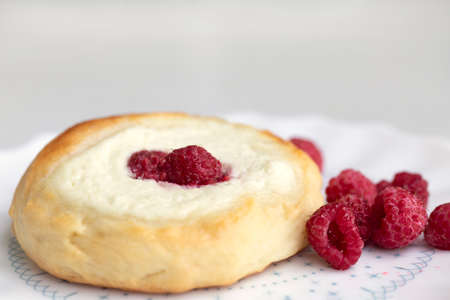 Sweet pastries with cottage cheese and berries. Close up