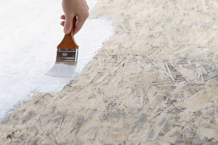 Half painted natural wood surface in white with paint brush.