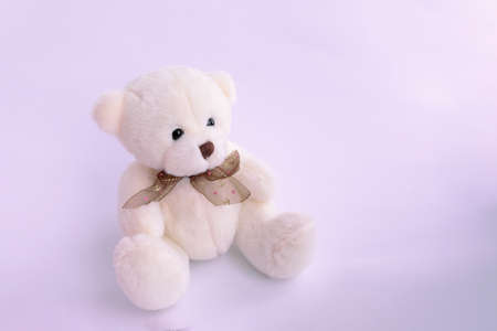 plushie Teddy bear sitting with light pink background