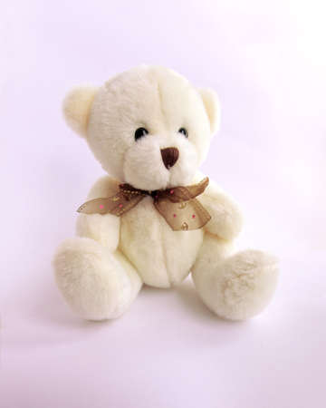 plush Teddy bear sits on white background in pink romantic light