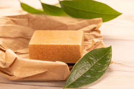 Olive oil soap from Aleppo. Natural, traditionalBar of Aleppo Soaps, traditional Syrian product Banque d'images