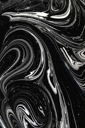 Vertical monochrome brush waves ink background. Grey white mimic texture of marble