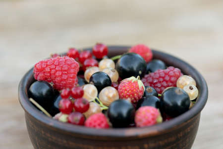 ripe freshly harvested berries in cup on table in garden. Selective focus.