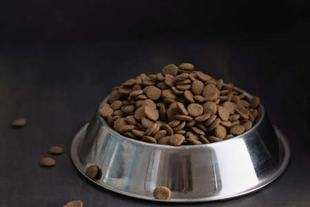 pile of dry dog food in stainless steel bowl