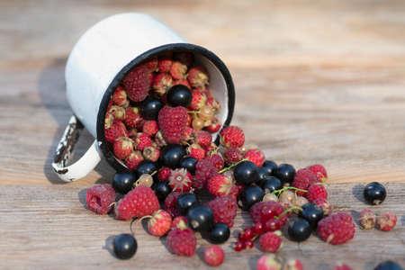 Berry mix scattered out iron mug on wood table. Summer Vitamins. Garden morsel. Reklamní fotografie