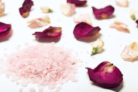 Close-up of handful of large pink himalayan salt crystals surrounded by red rose petals with blurred background, selective fiocus. Spa treatments or salon. Decor of bath or spa or massage room.