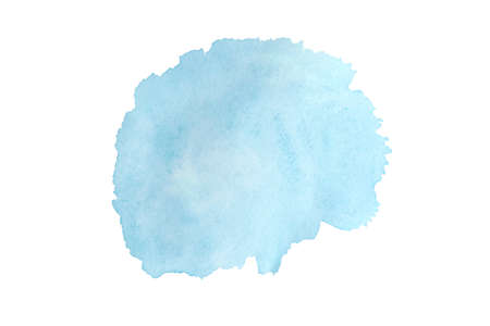 Blue spot on watercolor paper, ink drop. Abstract azure stain on white background.