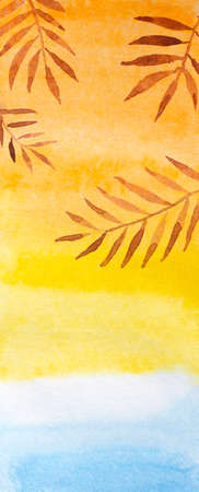 Beautiful watercolor drawing of seascape with skyline of yellow sunset and palm tree branch. Romantic view from window or illustration. Background for writing or cover for notebook or label.