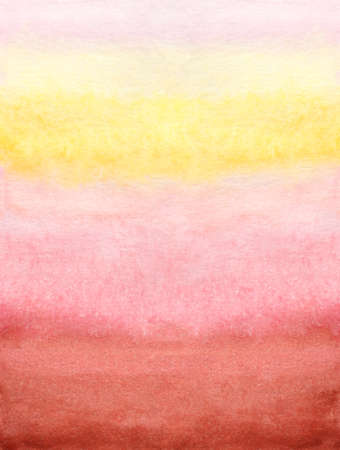 Cheerful watercolor background of mixing and flowing colors of red pink yellow on paper. Tablet, print, texture, sticker, word pad. Image of pink sunset