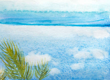 Beautiful watercolor hand drawing of blue color in different tones simulating water horizon and sky with green tree branch. Light background for writing, design notepad cover. Illustration of river and sky Stockfoto
