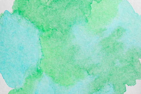 horizontal green blue watercolor background. High resolution image texture with copy space.
