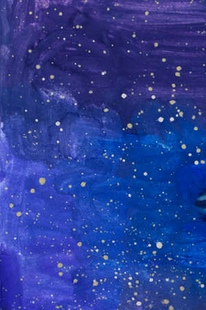 Abstract night starry sky, dark blue space background. Watercolor texture pattern. Stockfoto