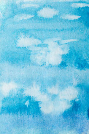 Abstract paint smudges, watercolor fill or background. Seafloor texture. Hand drawn blue backdrop with white spots and streaks