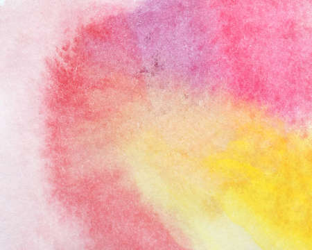 Bright delicate watercolor background of iridescent yellow red color of bud shape. Panel of ebru in pink tones or fabric print. Emotional background for presentation or naive drawing.