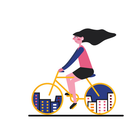 A girl rides a bicycle through the city. In the wheels you can see the city. Illusztráció
