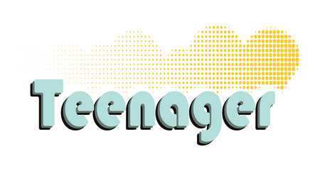 Vector illustration. The word teenager. 80s style. Design badge, web icon