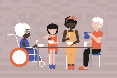 Multiracial family. Dinner in the family circle. Caring for loved ones. Vector illustration in flat style. Use for social advertising.